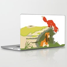 best friends forever.. a fox and a dog Laptop & iPad Skin