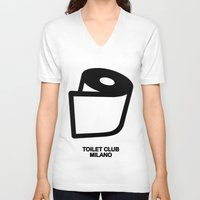 toilet V-neck T-shirts featuring TOILET CLUB #toiletpaper by Toilet Club