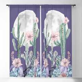 Desert Cactus Full Moon Succulent Garden on Purple Blackout Curtain