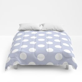 Light periwinkle - grey - White Polka Dots - Pois Pattern Comforters
