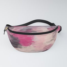 pink purple and black kisses lipstick abstract background Fanny Pack