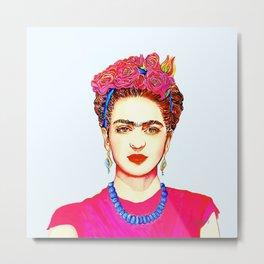 Frida with Flowers Taking Selfie Metal Print