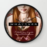 whatever Wall Clocks featuring Whatever by Lenore2411