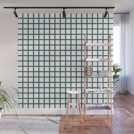 Grid (Jungle Green & White Pattern) Wall Mural