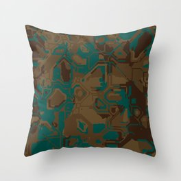 Peacock and Brown Throw Pillow