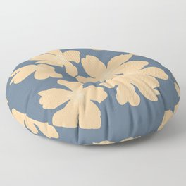 Nude primroses floral pattern on blue Floor Pillow