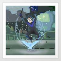 nightwing Art Prints featuring Nightwing by .:tinkerpunk:.