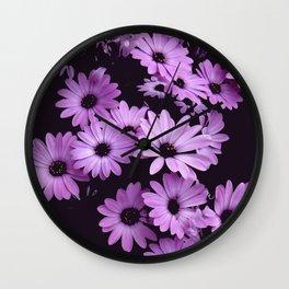 Black & Lilac Color Purple Daisies Wall Clock