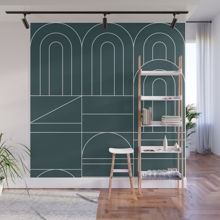 Deco Geometric 04 Teal Wall Mural