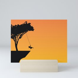 Fantastic Little Child On Tree Mounted Seesaw At Cliff Silhouette Ultra HD Mini Art Print