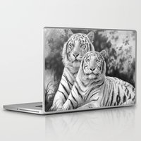 tigers Laptop & iPad Skins featuring Two Tigers by Thubakabra