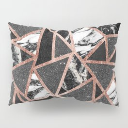 Modern Rose Gold Glitter Marble Geometric Triangle Pillow Sham