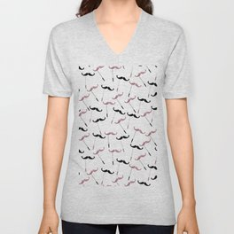 Modern funny black faux rose gold cute mustaches Unisex V-Neck