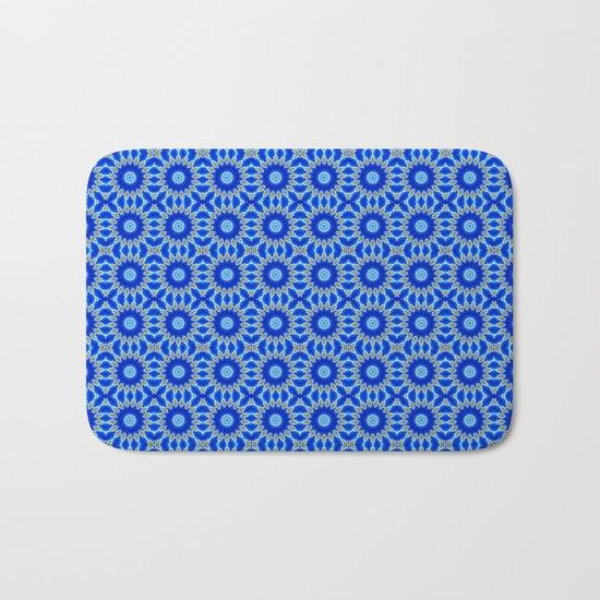 Blue and Yellow Circle Repeating Pattern Bath Mat