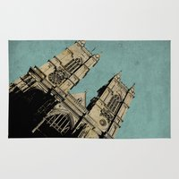 downton abbey Area & Throw Rugs featuring Westminster Abbey by sinonelineman