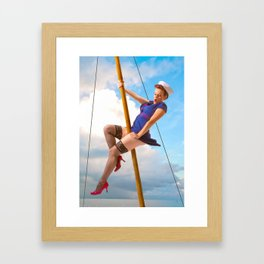 """Ahoy!"" - The Playful Pinup - Classic Sailor Pinup Girl by Maxwell H. Johnson Framed Art Print"