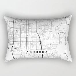 Anchorage Map, Alaska USA - Black & White Portrait Rectangular Pillow