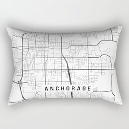 Anchorage Map, Alaska USA - Black & White Portrait Rectangular Pillow