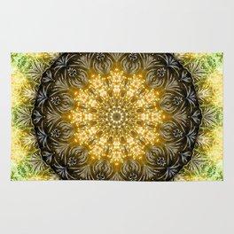 Yellow Firework Mandala Rug