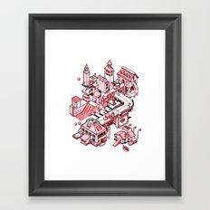 Small City - Red Framed Art Print