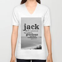 jack white V-neck T-shirts featuring Jack by KimberosePhotography