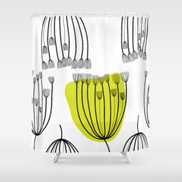 Background with dill. Seamless pattern with fennel. Black and white abstract pattern. Shower Curtain