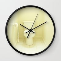 "toilet Wall Clocks featuring ""Toilet"" by Kelly Nicolaisen"
