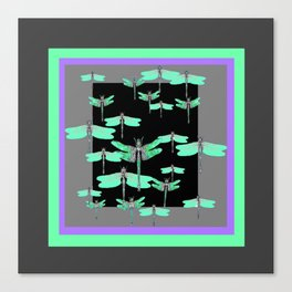 FLIGHT OF GREEN DRAGONFLIES VIOLET-GREY ART Canvas Print