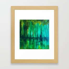 Green reflection Framed Art Print