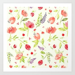 Watercolor Rose Garden Art Print
