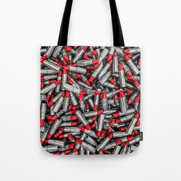 Lipstick chrome / 3D render of red chrome lipsticks Tote Bag