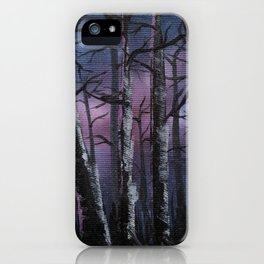 """""""into the woods"""" a night forest landscape in oil iPhone Case"""