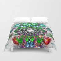 smoking Duvet Covers featuring smoking feathers by haroulita
