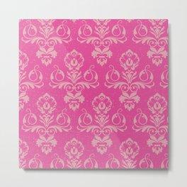Pink Vintage Damask Metal Print