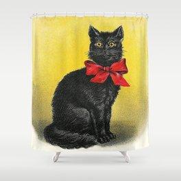 Pretty Black Cat- Vintage Cat Shower Curtain