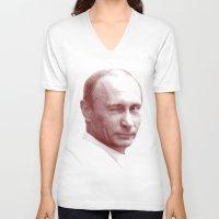 putin V-neck T-shirts featuring Putin by MartiniWithATwist