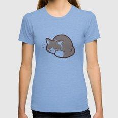 Sleepy Kitty MEDIUM Tri-Blue Womens Fitted Tee