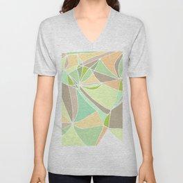 Pastel mosaic  Abstract artwork  Mint peach beige Unisex V-Neck
