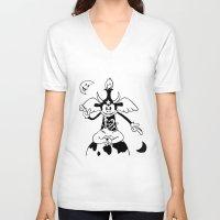 baphomet V-neck T-shirts featuring Steamboat Baphomet by dankherbmullet