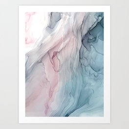 Calming Pastel Flow- Blush, grey and blue Art Print
