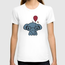 cute elephant with glasses holding a balloon T-shirt