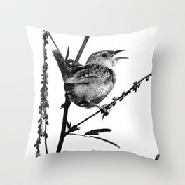 Sedge Wren Throw Pillow