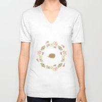 hedgehog V-neck T-shirts featuring Hedgehog! by vectorgraphicscorner