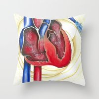 anatomical heart Throw Pillows featuring Anatomical Heart, Abstract blood by Adam Murray
