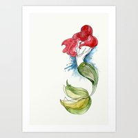 the little mermaid Art Prints featuring Little Mermaid by Ines92