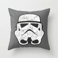 stormtrooper Throw Pillows featuring Stormtrooper by Santos