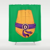 ninja turtle Shower Curtains featuring Donatello Turtle by Salina Ayala