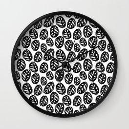 Monstera obliqua linocut black and white minimal house plants cute zen vibes yoga art Wall Clock