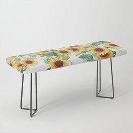 Sunflowers and Eucalyptus Garland  Bench