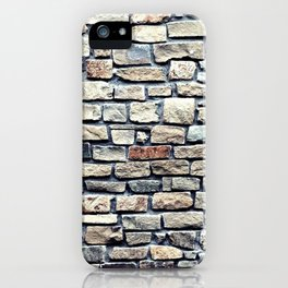 Grey tiles brick wall iPhone Case